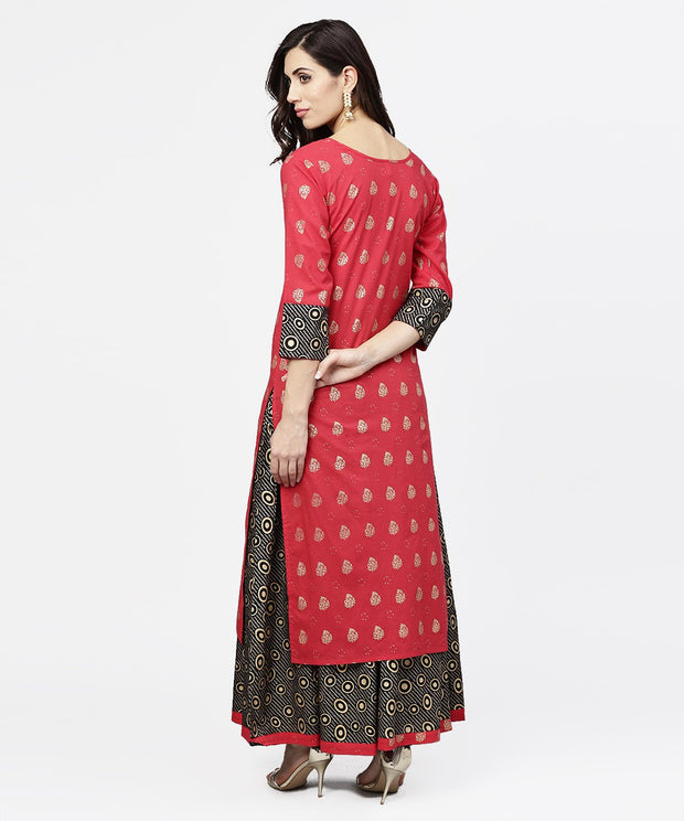 Pink printed 3/4th sleeve cotton kurta with black printed skirt