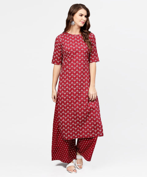 Red printed half sleeve cotton kurta with printed ankle length pallazo