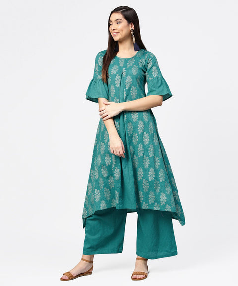 Blue printed half sleeve cotton kurta with straight ankle length pallazo