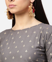Grey printed half sleeve cotton ankle length kurta with flared ankle length skirt