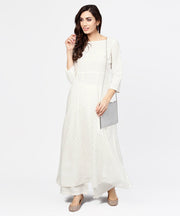 Off White Printed 3/4th sleeve cotton kurta with ankle length Palazzo