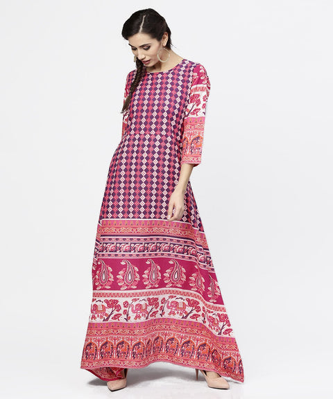 Red printed 3/4th sleeve cotton floor length kurta