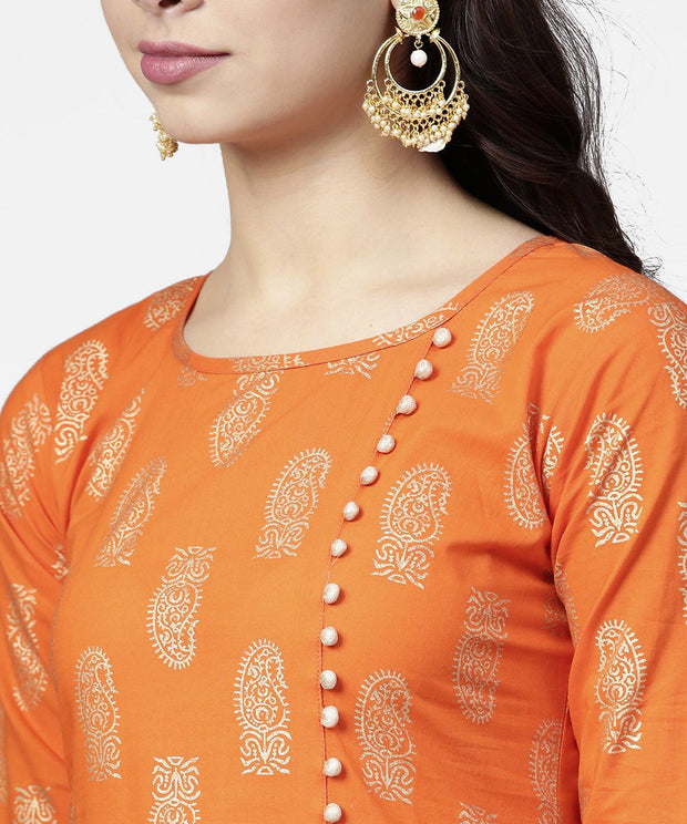 Orange printed 3/4th sleeve assymetric kurta with ankle length pant