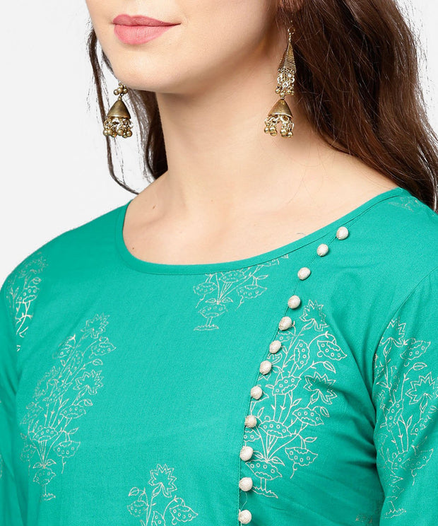 Green 3/4th sleeve cotton Assymetric kurta with black printed skirt