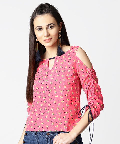 Pink printed cold shoulder top with key hole neck & adjustable drawstrings gathered sleeves