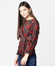 Blue & red printed full sleeve tops