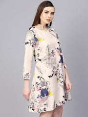 Off white printed 3/4th sleeve A-line dress