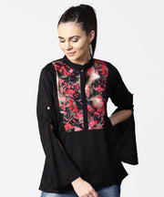 Black full sleeve rayon tops with printed yoke