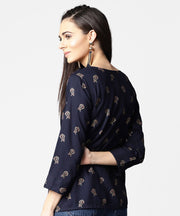 Navy blue full sleeve rayon tops with side slit