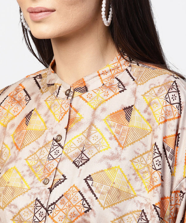 Beige printed short flared sleeve rayon tunic