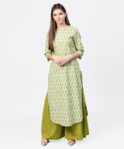 Green printed 3/4th sleeve cotton straight long kurta