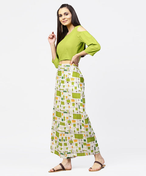 Green 3/4th cold shoulder sleeve crop top with ankle length printed palazzo