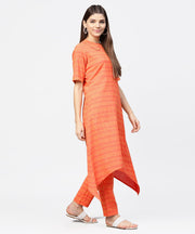 Peach half sleeve cotton assymetric kurta with ankle length pant