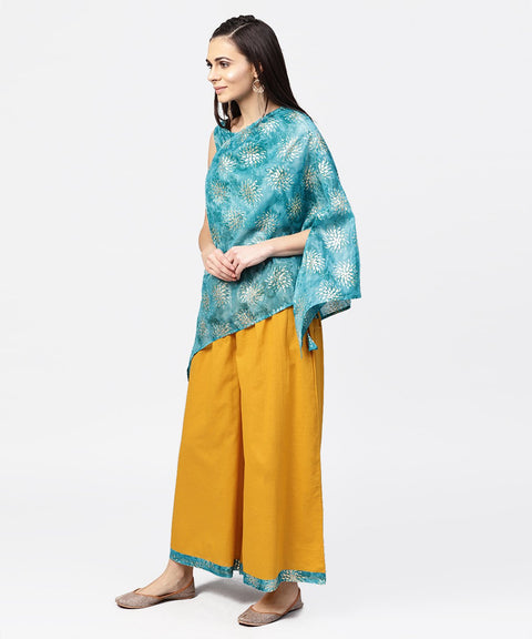 Blue boho poncho style tops with yellow ankle length palazzo