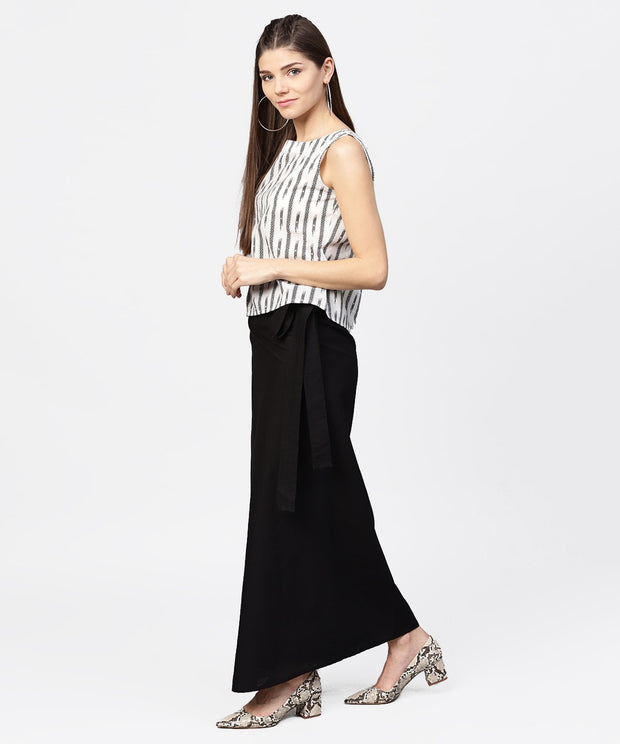 Black ankle length cotton straight skirt