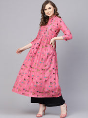 Pink Tribal Printed Kurta with Roll collar & 3/4 sleeves