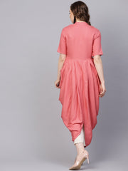 Pink Rayon Half sleeves Cowl Kurta with front placket & Madarin collar
