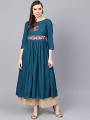 Rayon Teal Blue Embroidered Kurta with Round Neck & 3/4 sleeves