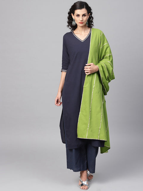 Navy Blue Kurta Set with printed Palazzo & contrasting Green Dupatta emblished with Gota