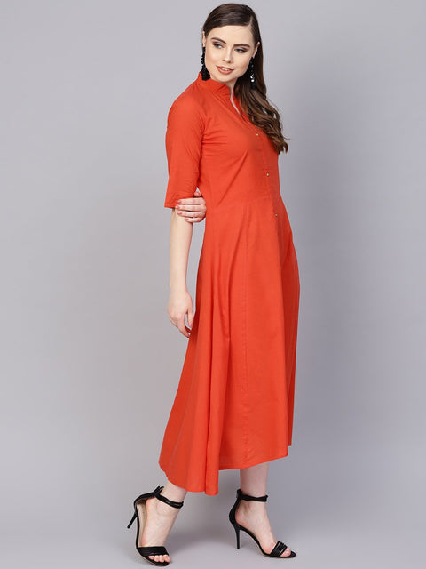 Solid Orange Maxi Dress with Madarin Collar & 3/4 sleeves