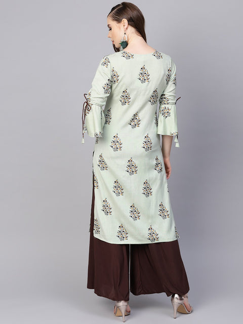 Pista green floral printed kurta with a front keyhole and flared sleeves
