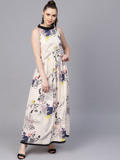 Cream Floral sleeveless printed Maxi Dress