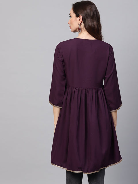 Solid Burgundy Tunic emblished with Gota & 3/4 sleeves