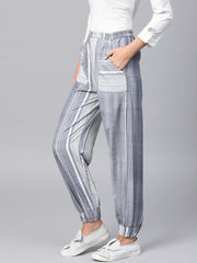 Grey Striped ankle length Jogger with Elastic Band