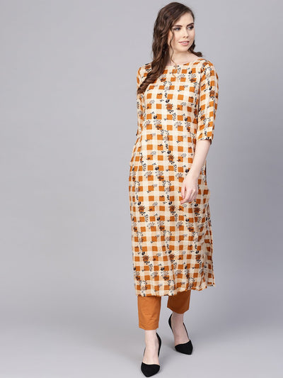 Camel  Brown Checked with florals Kurta Set with Solid Palazzo