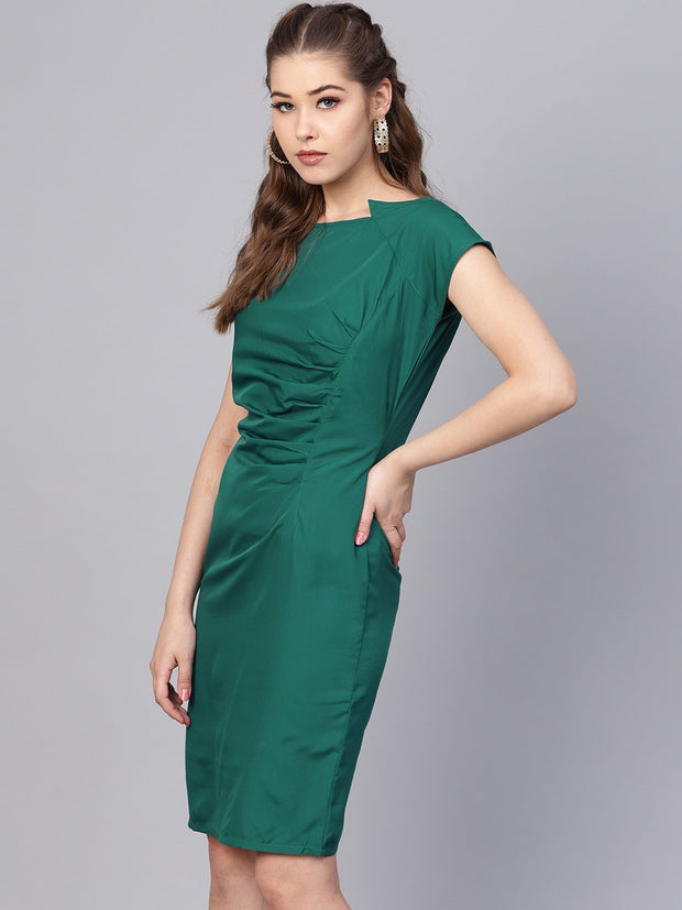 0cc992fc Dark Green Sheath cap sleeve dress