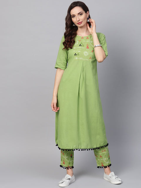 Tribal Printed Yoke with solid Kurta Set with Printed Palazzo