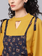 Navy Blue Geometric Printed Knot style Dungree with Mustard Top
