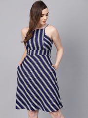 Navy Blue Striped Shoulder Strap Dress