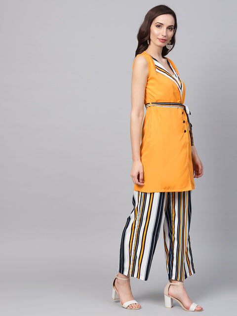 Solid yellow Jacket & Stripped Palazzo Clothing set
