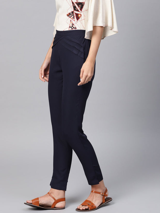 Navy Blue Detailed Pleated pants