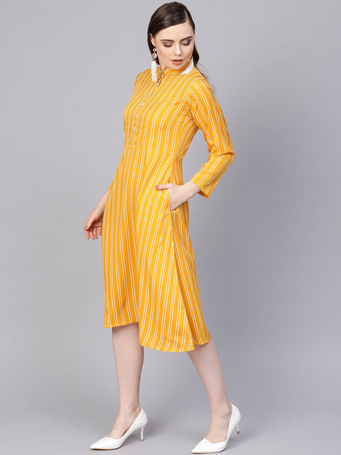 Yellow & white Striped Dress with Madarin Collar & Full Sleeves