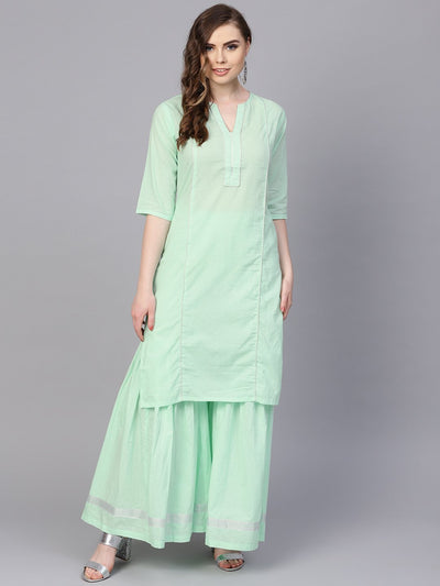 Pastel Solid Mint Kurta set with Sharara Emblished with Gota