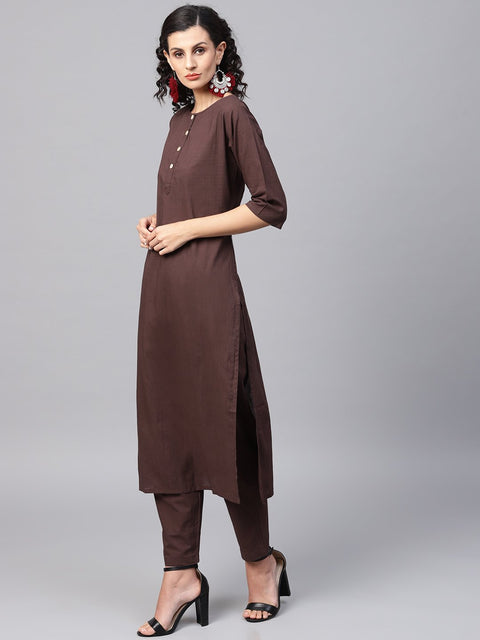 Dark Brown solid Kurta Set With Pants  & Printed Dupatta