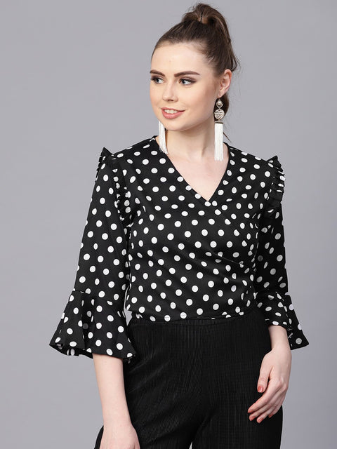 Black Polka dots top with Detailed Sleeves & V-neck
