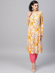 Yellow Coloured Printed Kurta Set with Solid Megenta Pants