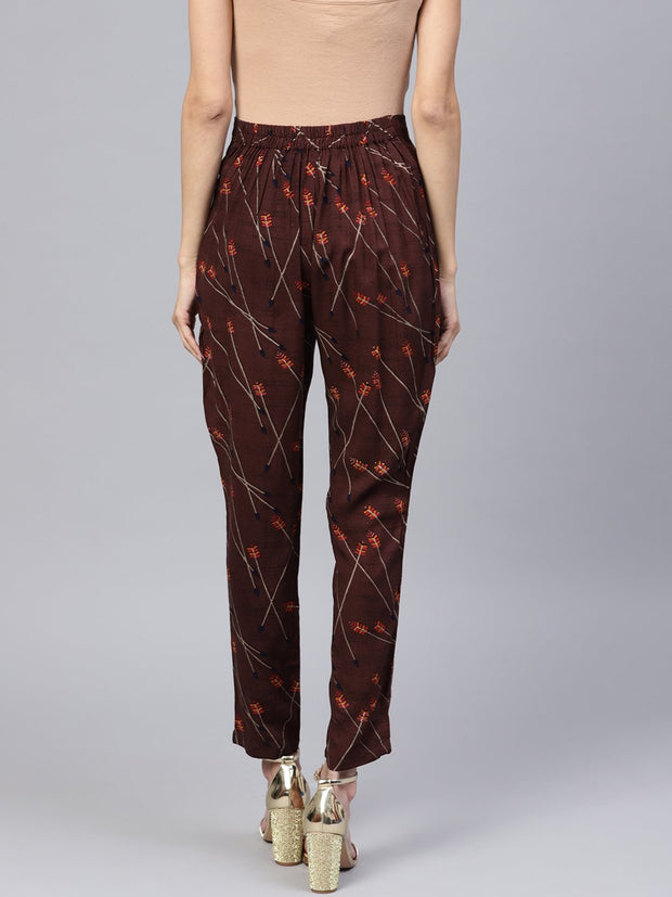 Dark Brown Printed Peeka A Boo Pants