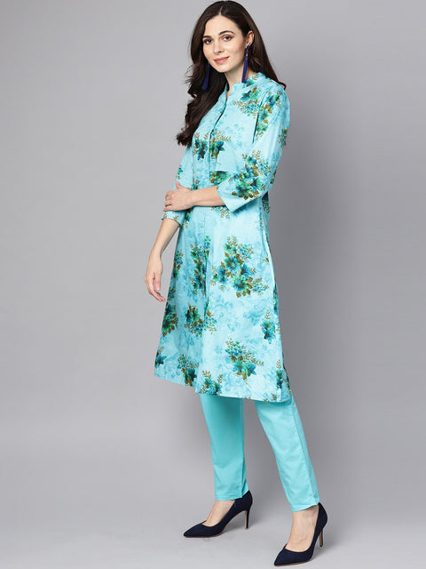 Sky blue Floral Printed Kurta set with Solid pants