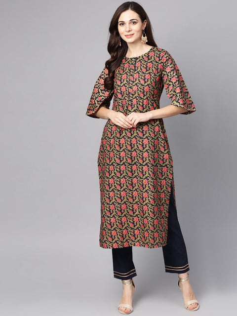 Navy blue & Gold khadi Floral printed kurta set with Solid Navy blue Pants