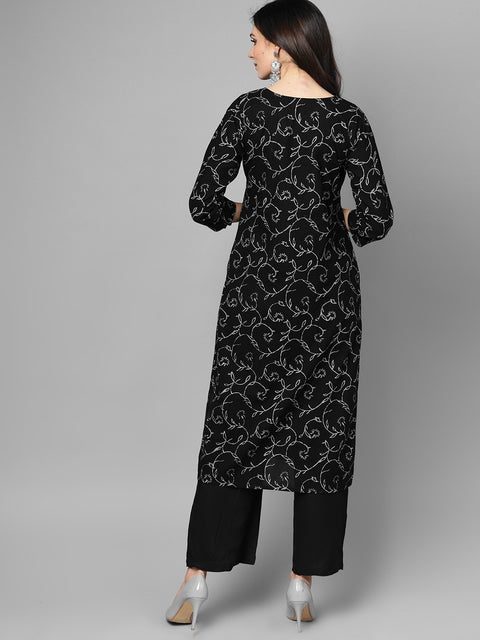 Black & Grey Floral Printed Kurta set with Solid Black palazzo