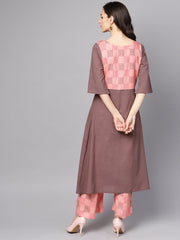 Pink & Brown A-Line Kurta set with Pants