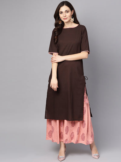 Solid Brown half sleeve Kurta Set with Printed Sharara