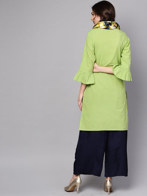 Pastel green Round neck Kurta With Rayon Printed Stole
