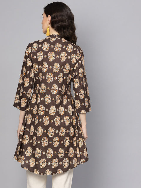 Chocolate Brown Printed Tunic with Madarin Collar and 3/4 sleeves