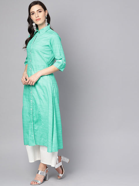 Turquoise Blue A-line Kurta with Shirt collar & 3/4 sleeves