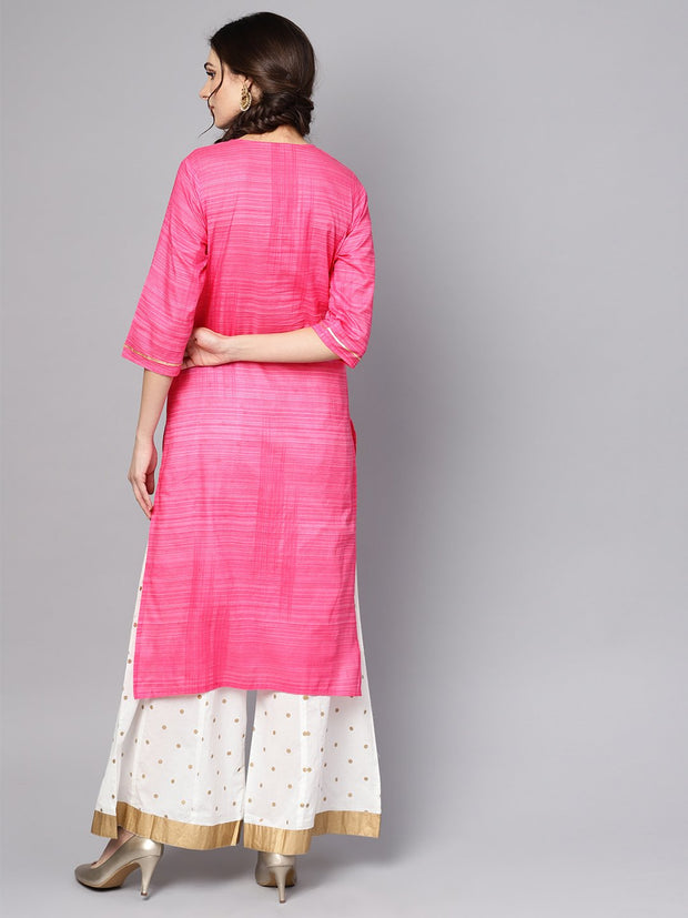 Pink Straight Kurta with Round neck emblished with Gotta